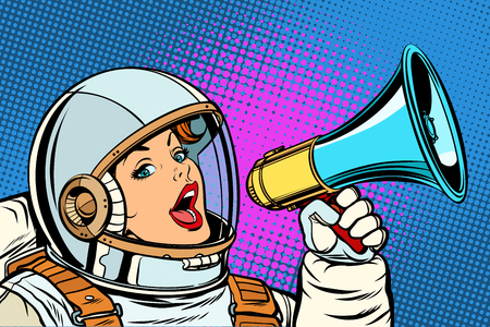 Illustrazione per pop art background woman with megaphone - Immagini Royalty Free