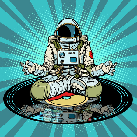 Ilustración de Music for meditation and yoga. Astronaut meditates. Pop art retro vector illustration vintage kitsch - Imagen libre de derechos