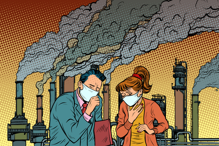 Ilustración de man and woman in a medical mask suffocating from industrial smoke. Ecology and polluted air. Pop art retro vector illustration vintage kitsch drawing - Imagen libre de derechos