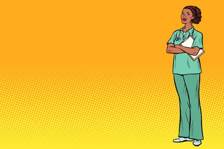 Illustration pour African nurse. Medicine and health. Pop art retro vector illustration vintage kitsch - image libre de droit