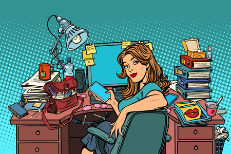 Ilustración de Businesswoman in the workplace. Pop art retro vector illustration vintage kitsch - Imagen libre de derechos