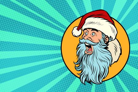 Illustration pour Santa Claus face profile. Pop art retro vector illustration vintage kitsch - image libre de droit