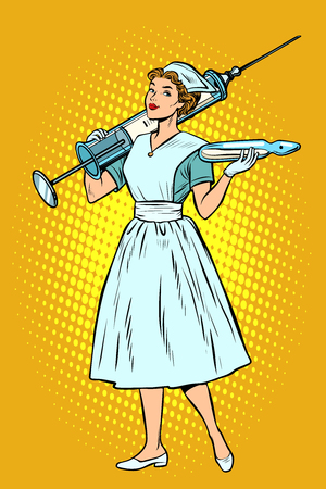 Illustration pour Nurse with syringe. Pop art retro vector illustration vintage kitsch - image libre de droit