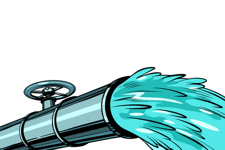Illustration pour Clean water pipe for irrigation and drinking. Pop art retro vector illustration kitsch vintage - image libre de droit