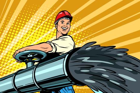 Ilustración de oil flowing out of pipe, male oilman opens tap. Pop art retro vector illustration kitsch vintage - Imagen libre de derechos