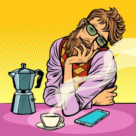 Ilustración de hipster man morning coffee. Pop art retro vector illustration vintage kitsch - Imagen libre de derechos