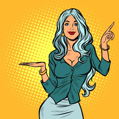Foto für beautiful woman presents gesture. Pop art retro vector illustration vintage kitsch - Lizenzfreies Bild