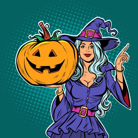 Foto für witch with Halloween pumpkin. Pop art retro vector illustration vintage kitsch - Lizenzfreies Bild