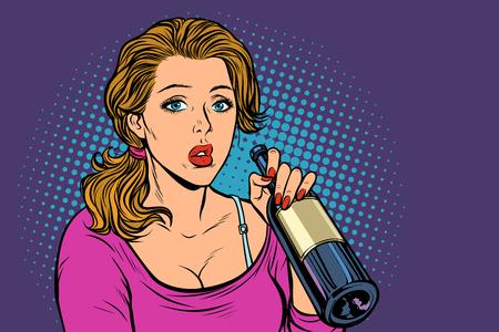Ilustración de Woman drinking wine from a bottle. Loneliness and sadness. Pop art retro vector illustration vintage kitsch - Imagen libre de derechos