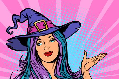Ilustración de happy Halloween witch beautiful woman. Pop art retro vector illustration vintage kitsch - Imagen libre de derechos