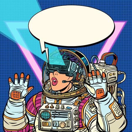 Illustration pour Woman astronaut in virtual reality glasses. Girls 80s - image libre de droit