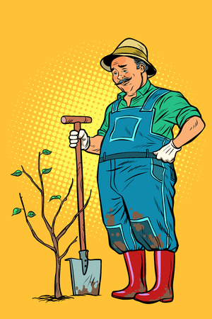 Illustration pour old gardener plants a seedling. ecology and gardening. trees and garden tools. Pop art retro vector illustration vintage kitsch - image libre de droit