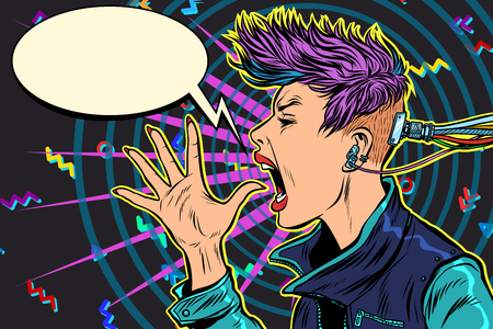 Illustration pour cyberpunk 80s girl woman - image libre de droit