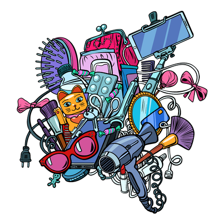 Illustration pour contents of female handbag set isolate on white background. Pop art retro vector illustration kitsch vintage - image libre de droit
