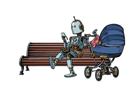 Ilustración de mom robot resting in the Park with a baby stroller. motherhood. Pop art retro vector illustration kitsch vintage - Imagen libre de derechos