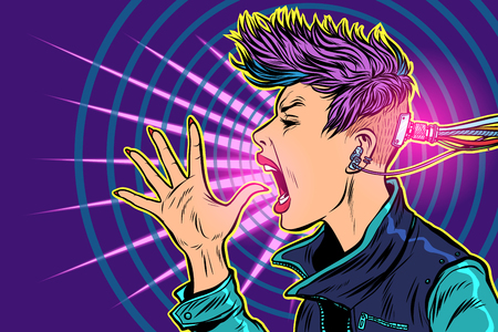 Illustration pour cyberpunk Internet addiction. gadgets virtuality. 80s girl woman - image libre de droit