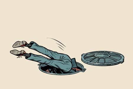 Ilustración de man fell into a sewer manhole - Imagen libre de derechos