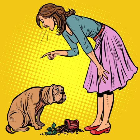 Ilustración de Woman scolds guilty dog. Broken pot with flower. Pop art retro vector illustration vintage kitsch - Imagen libre de derechos