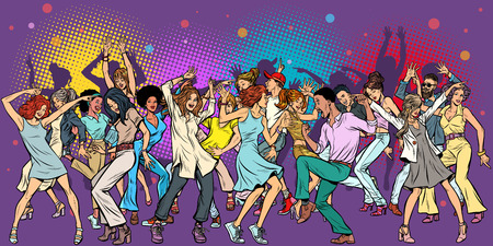 Illustration pour Party at the club, dancing young people. Pop art retro vector illustration vintage kitsch - image libre de droit