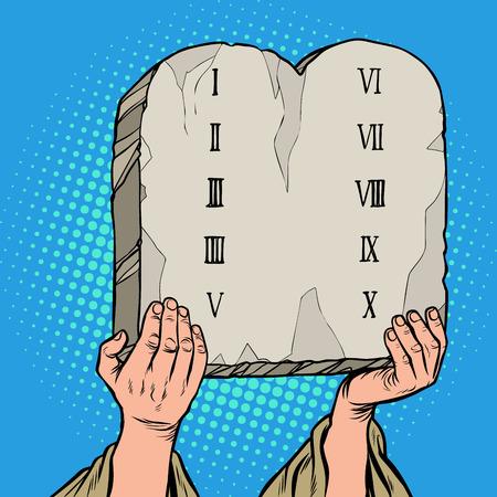 Illustration pour tables of the covenant. Ten Commandments of Moses. Pop art retro vector illustration vintage kitsch 50s 60s - image libre de droit