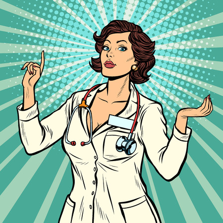 Illustrazione per woman doctor presentation gesture. Pop art retro vector illustration vintage kitsch 50s 60s - Immagini Royalty Free