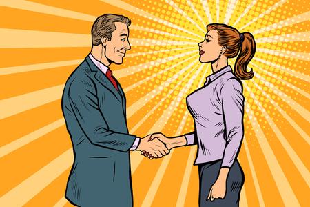 Ilustración de man and woman businessman handshake. Pop art retro vector illustration vintage kitsch 50s 60s - Imagen libre de derechos