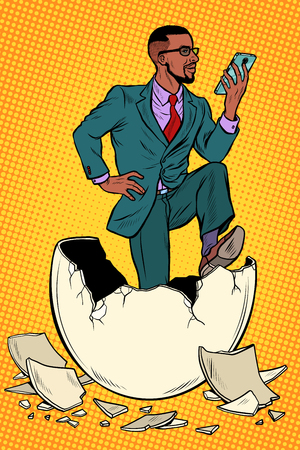 Illustration pour The businessman was born from an egg. Reads news in the smartphone. Pop art retro vector illustration kitsch vintage - image libre de droit