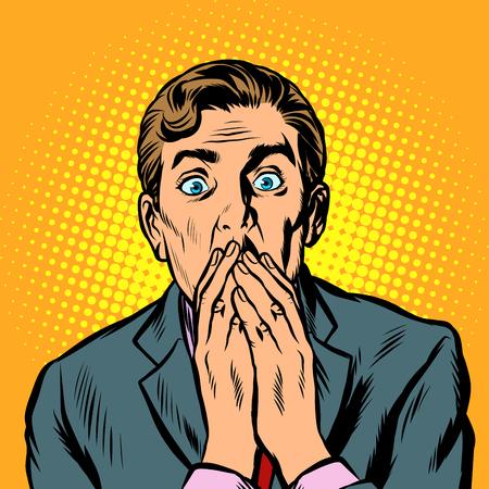 Ilustración de the surprised man covered his mouth with his hands. Pop art retro vector illustration vintage kitsch - Imagen libre de derechos