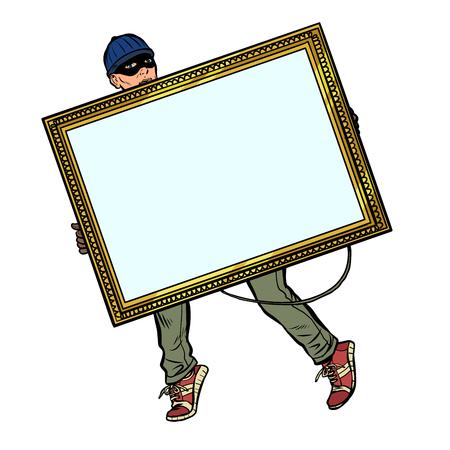 Ilustración de a thief steals a painting - Imagen libre de derechos