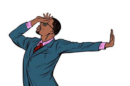 Illustration pour African American businessman. shame denial gesture no. Pop art retro vector Illustrator vintage kitsch drawing - image libre de droit