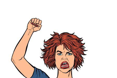 Ilustración de angry protester woman, rally resistance freedom democracy. Pop art retro vector illustration drawing - Imagen libre de derechos