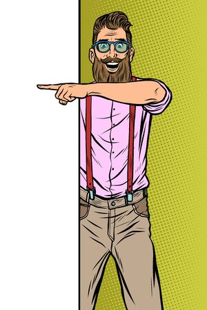 Ilustración de hipster man. Point to copy space poster. Pop art retro vector Illustrator vintage kitsch drawing - Imagen libre de derechos