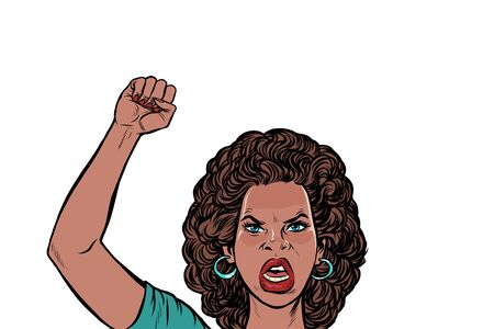 Illustrazione per angry protester African woman, rally resistance freedom democracy. Pop art retro vector illustration drawing - Immagini Royalty Free