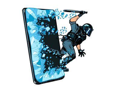 Ilustración de cyberpolice concept. the state monitors the Internet. arrest the hacker. censorship and prohibition of freedom of speech - Imagen libre de derechos