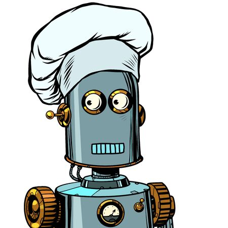 Illustration for Robot cook food, takes orders at the restaurant - Royalty Free Image