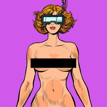 Ilustración de virtual sex cyberpunk. naked woman in cyberspace - Imagen libre de derechos