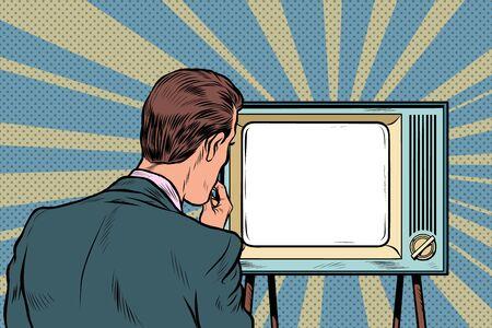 Ilustración de male viewer watching TV. Television propaganda, film and news - Imagen libre de derechos