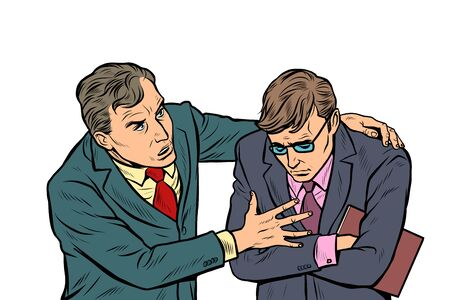Ilustración de Male businessman consoling colleague. Pop art retro vector illustration drawing vintage kitsch - Imagen libre de derechos