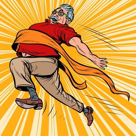 Ilustración de old man grandpa runs finish line, win. Pop art retro vector illustration kitsch vintage drawing - Imagen libre de derechos