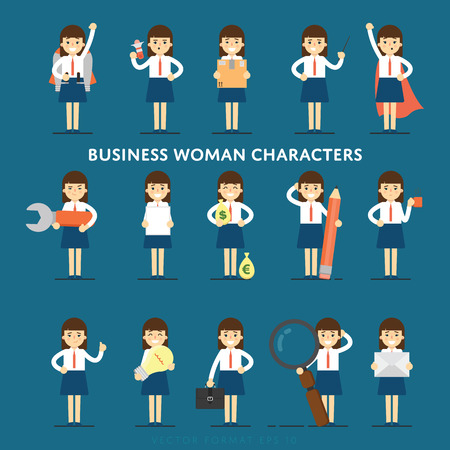 Set of diverse isolated vector office people full lenth