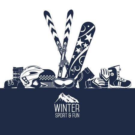 Illustration pour Ski equipment or ski kit. Extreme winter sports. Ski, ski camera, ski boots and other extreme ski clothes. Vector set of ski icons. - image libre de droit