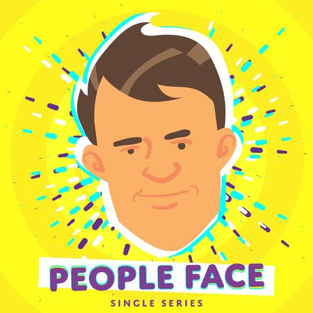 Cartoon smiling people face. Raster face icon.