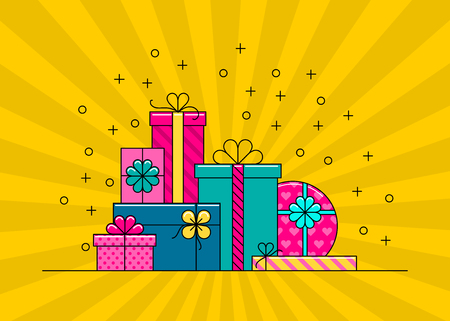 Illustration pour Gift boxes. Big pile of colorful wrapped gift boxes. Flat style vector illustration. - image libre de droit
