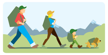 Ilustración de Family going to the mountain with backpacks. Family travelers, active forms of recreation, hiking, adventures. On the background of mountains with snow-capped peaks. - Imagen libre de derechos