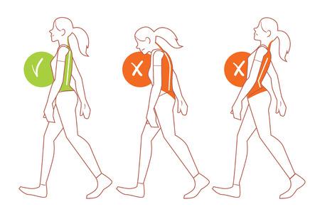 Ilustración de Correct spine posture. Position of body when walking. - Imagen libre de derechos