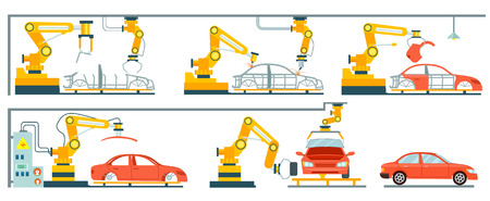 Illustration pour Factory with smart robotic automotive assembly line. Modern engineering systems, automobile production line, car manufacturing process. Conveyor for assembly of cars vector illustration in flat style - image libre de droit