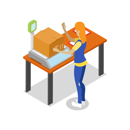 Illustration pour Warehouse worker with parcel on scales isometric 3D icon. Storage logistics and delivery transportation service vector illustration isolated on white background. - image libre de droit