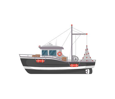 Ilustración de Small fishing boat side view isolated icon. Sea or ocean transportation, marine ship for industrial seafood production vector illustration in flat style. - Imagen libre de derechos