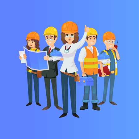 Photo pour construction worker team in safety helmets. Engineer, architect with blueprint, builder, foreman with portable radio isolated on blue background. Industrial building company vector illustration. - image libre de droit