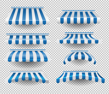 Illustration pour Vector set of white and blue colored striped tents of different shapes on transparent background - image libre de droit